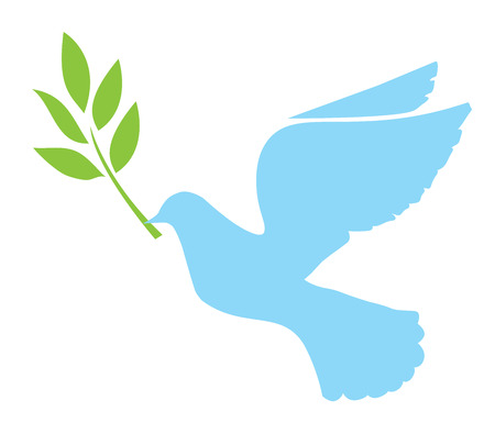 heaven on earth: vector illustration of a dove with olive branch