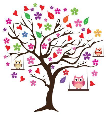arbol genealógico: ilustración vectorial de un árbol de flores con los búhos de balanceo