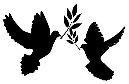 Illustrazione vettoriale di una colomba con ramo d'ulivo Archivio Fotografico - 60960889