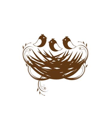 illustration vectorielle d'un nid d'oiseau avec copyspace