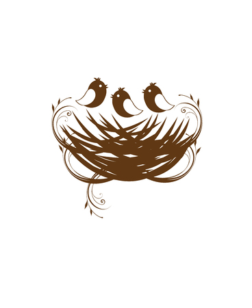 vector illustration of a bird nest with copyspace Illustration