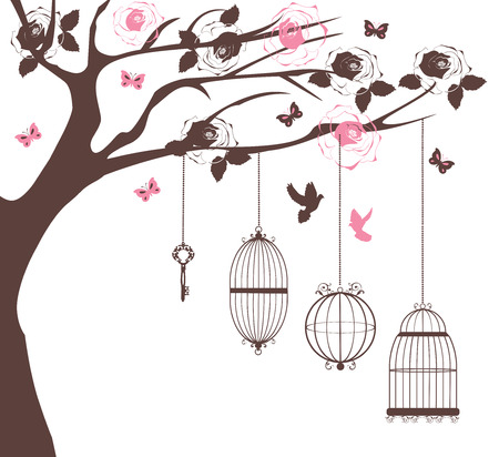 tree leaves: vector illustration of a vintage background with bird cages and flowers Illustration