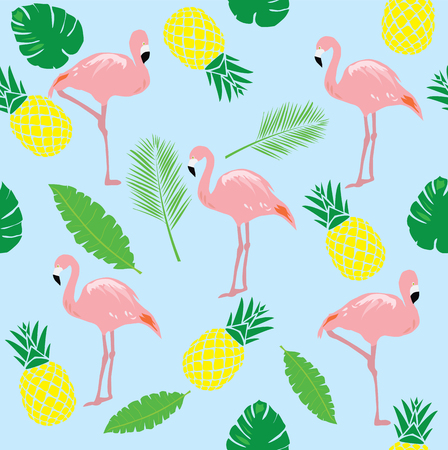 rosy: vector illustration of flamingos seamless background with pineapples and palm tree branches Illustration