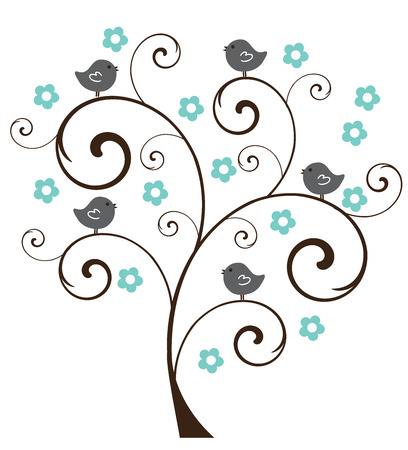 vector illustration of an abstract tree with birds Ilustração