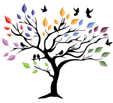 vector illustration of an abstract tree with birds Illustration