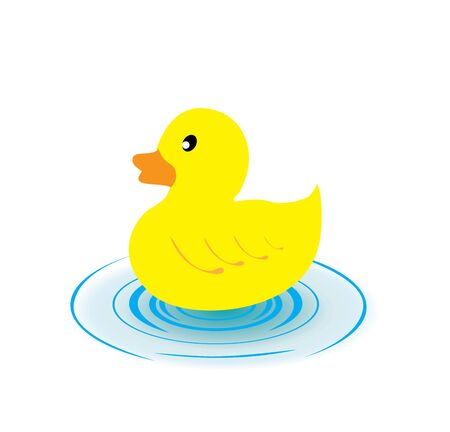 vector illustration of a rubber duck and water splash