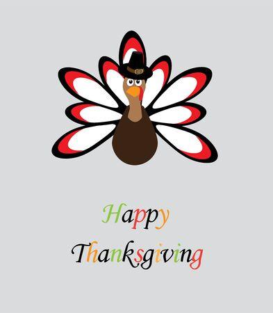 vector illustration of a thanksgiving turkey card Illustration