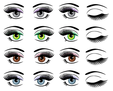 winking: vector illustration of a set of eyes with long lashes
