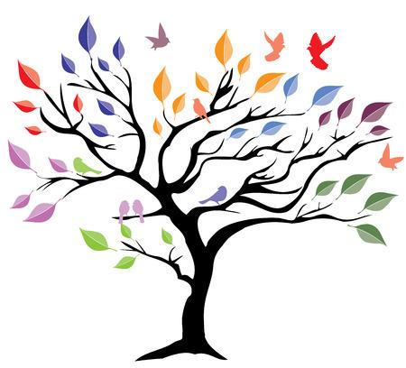 illustrazione vettoriale di un albero con foglie e uccelli