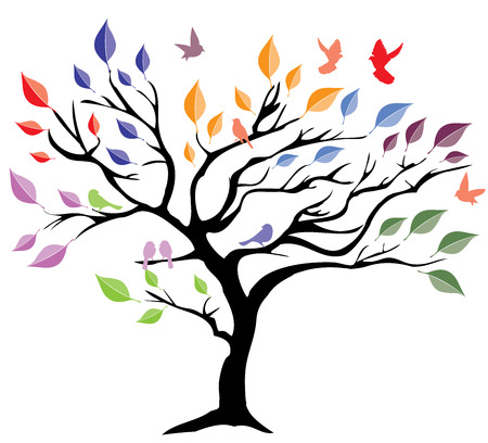 birds in tree: vector illustration of a tree with leaves and birds