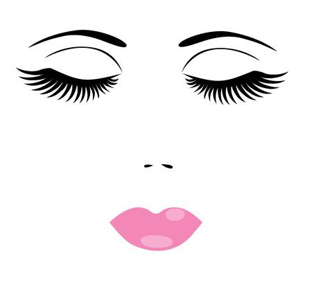 ilustración vectorial de una cara de mujer con maquillaje Ilustración de vector
