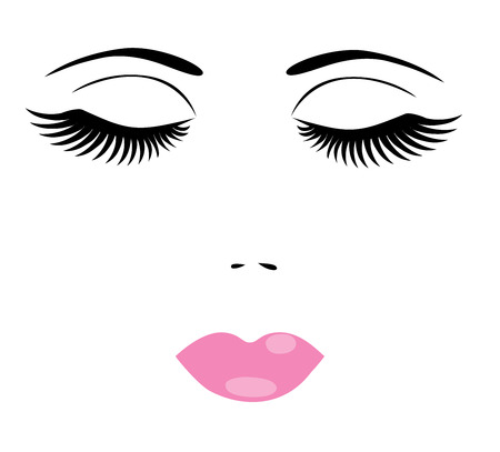 hair do: vector illustration of a woman face with make up