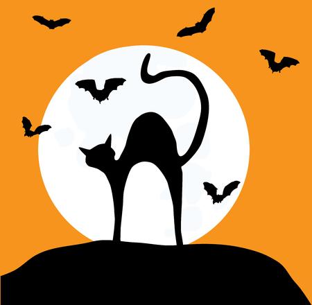 illustrazione vettoriale di un gatto e di sagome pipistrelli in background luna
