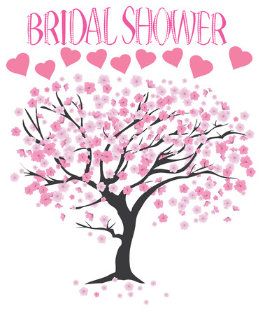 vector illustration of a bridal shower with cherry tree royalty free cliparts vectors and stock illustration image 64656788