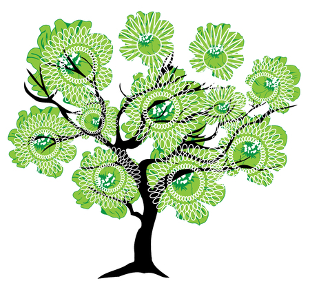 abstract tree: vector illustration of an abstract tree with green flowers