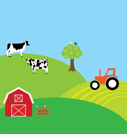 Ilustración vectorial de un fondo de granja con las vacas Foto de archivo - 64657235