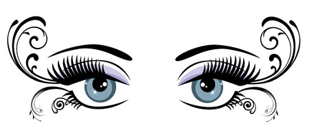 lashes: vector illustration of eye with long lashes and swirls