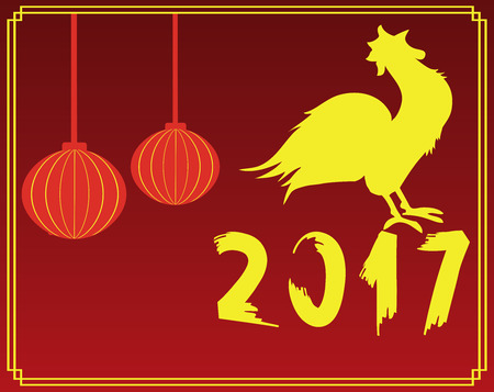 vector illustration of oriental card with rooster Ilustrace
