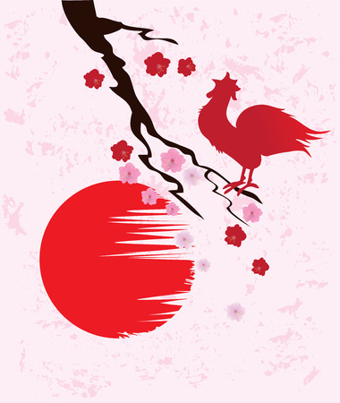 vector illustration of oriental card with rooster Vettoriali