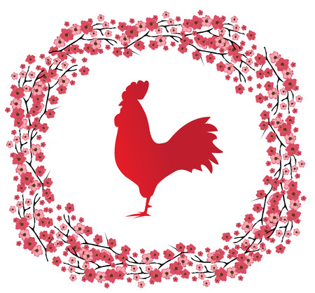 vector illustration of a red rooster and cherry blossom