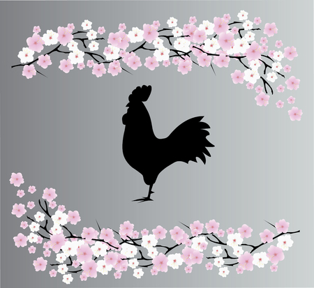 vector illustration of oriental card with rooster Illustration