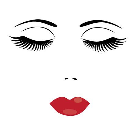 Illustration d'un visage d'une femme aux longs cils et aux lèvres rouges Vecteurs