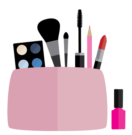 vector illustration of a cosmetic bag with make up concept 矢量图像