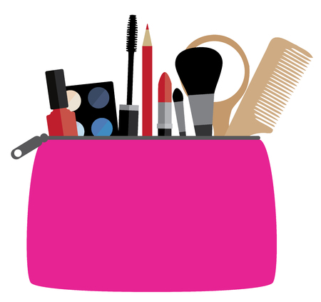 vector illustration of a cosmetic bag with make up concept Illusztráció