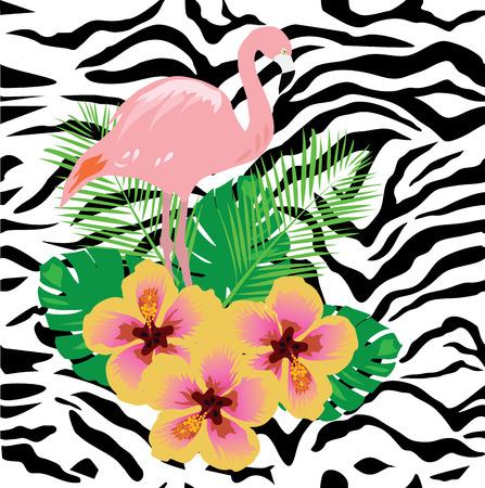 illustration vectorielle de flamant tropical avec des fleurs sur fond seamless zebra