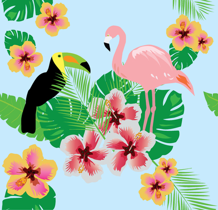 vector illustration of tropical background with flower, flamingo, toucan, pineapple