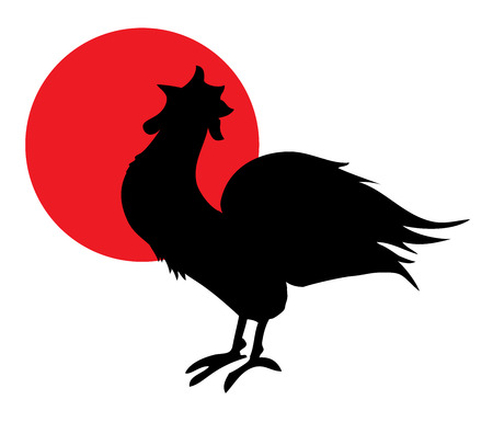 alertness: vector illustration of a new year background with rooster and moon