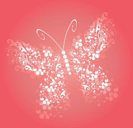 vector illustration of a floral vintage butterfly Illustration