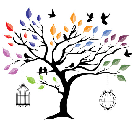 birds in tree: vector illustration of a tree with birds and cages Illustration