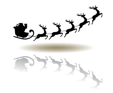 Vektor-Illustration von Santa Claus fliegt mit Rentier
