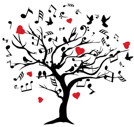 birds in tree: vector illustration of a music tree with notes, hearts, birds