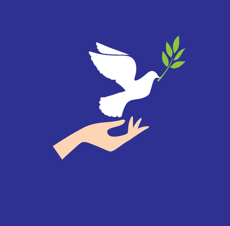 peace concept: vector illustration of a dove flying with olive branch and human hand peace concept