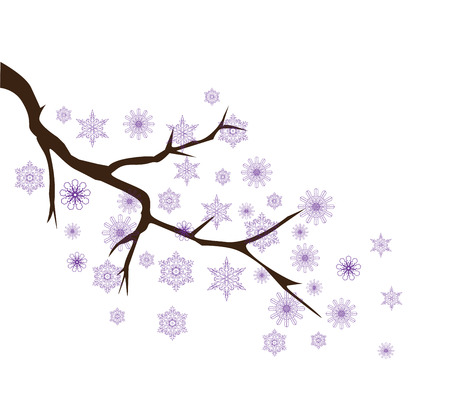 icy: vector illustration of a tree branch with snowflakes