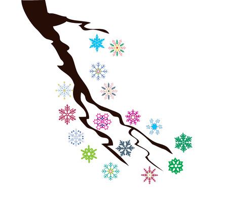vector illustration of a tree branch with snowflakes