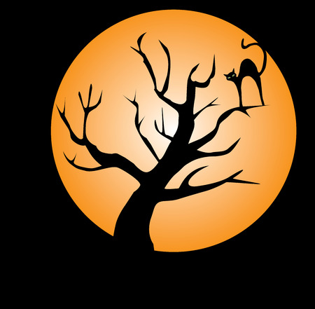 vector illustration of a cat in the tree int orange moon light
