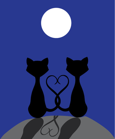 dating and romance: vector illustration of cats silhouettes in the moonlight Illustration