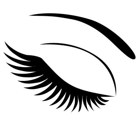 eye makeup: ilustración vectorial de un icono de ojo con los latigazos largos compone aislado en el fondo blanco Vectores