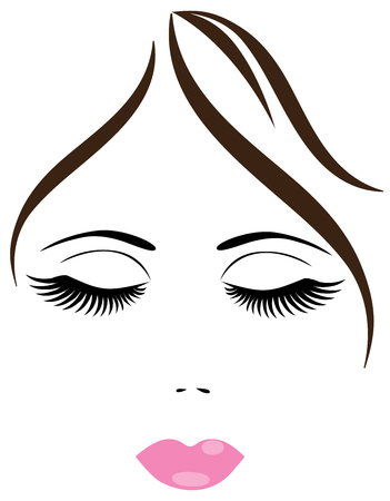 noses: vector illustration of a woman face with long lashes and pink lips