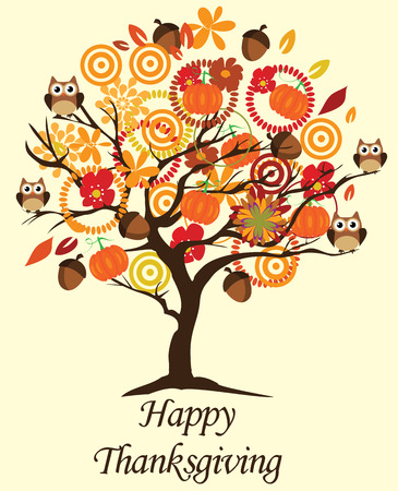 vector illustration of a thanksgiving tree with owls pumpkins leaves flowers