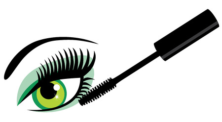 vector illustration of an eye with long lashes and mascara Illustration