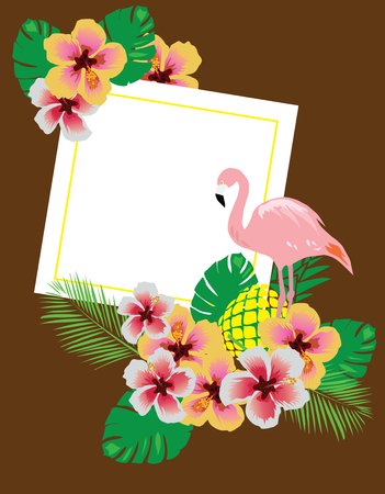 vector illustration of flamingo background with flowers, palm leaves, pineapple, frame