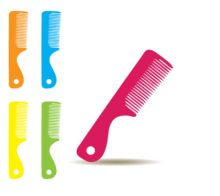 hair colors: vector illustration of colorful hair brushes isolated on white background