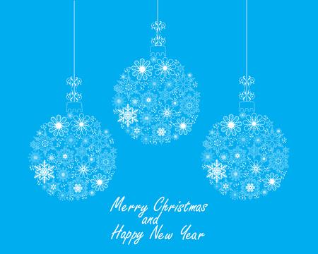 christmas tree ball: vector illustration of Christmas tree snowflake ball holiday background Illustration