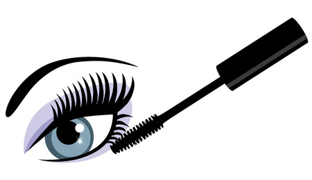 vector illustration of an eye with long lashes and mascara Illusztráció