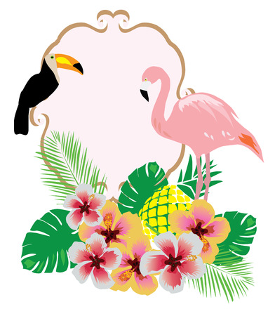 couple in summer: vector illustration of flamingo toucan background with flowers, palm leaves, pineapple, frame