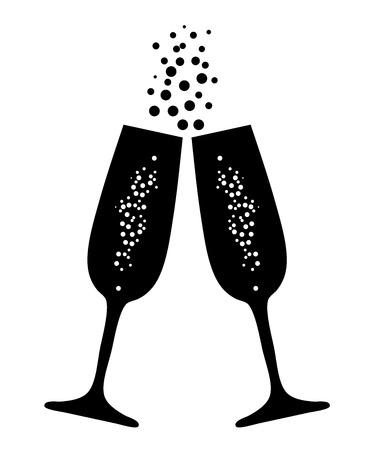 vector illustratie van champagneglazen met bellen